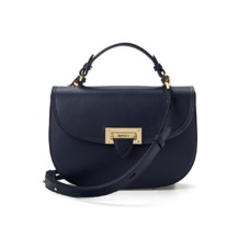 Letterbox Saddle Bag in Smooth Navy. Handbags & Clutches from Aspinal of London