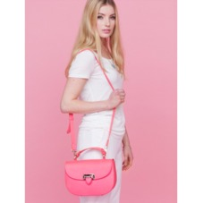 Letterbox Saddle Bag in Smooth Neon Pink. Handbags & Clutches from Aspinal of London