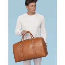 Harrison Weekender Travel Bag in Smooth Tan. Mens Travel Bags from Aspinal of London