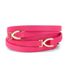 Stirrup Double Wrap Skinny Belt in Smooth Neon Pink. Outlet from Aspinal of London