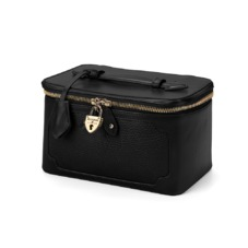 Marylebone Cosmetic Case in Black Pebble. Outlet from Aspinal of London