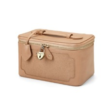 Marylebone Cosmetic Case in Deer Saffiano. Outlet from Aspinal of London