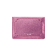 Marylebone Credit Card Holder in Metallic Pink Nappa. Business & Credit Card Holders from Aspinal of London