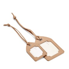 Set of 2 Marylebone Luggage Tags in Deer Saffiano. Outlet from Aspinal of London