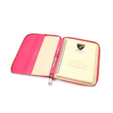 A5 Zipped Padfolio in Smooth Neon Pink. Leather Portfolios & Padfolios from Aspinal of London