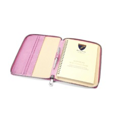 A5 Zipped Padfolio in Metallic Pink Nappa. Leather Portfolios & Padfolios from Aspinal of London