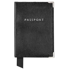 Plain Passport Cover in Jet Black Lizard. Leather Passport Covers from Aspinal of London