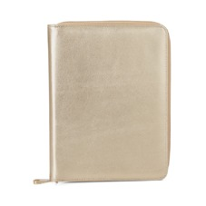 A5 Zipped Padfolio in Metallic Gold Nappa. Leather Portfolios & Padfolios from Aspinal of London