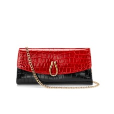 Eaton Clutch with Chain in Red & Black Croc with Gold Snake Leather. Evening & Clutches from Aspinal of London