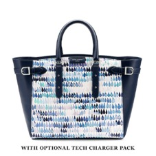Marylebone Tote in Smooth Navy Raindrop Nappa. Ladies Business Bags from Aspinal of London