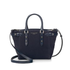 Marylebone Mini in Navy Nubuck. Handbags & Clutches from Aspinal of London