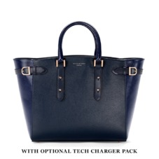 Marylebone Tote in Navy Pebble & Navy Lizard. Handbags & Clutches from Aspinal of London
