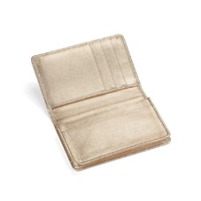 Marylebone Credit Card Holder in Metallic Gold Nappa. Business & Credit Card Holders from Aspinal of London