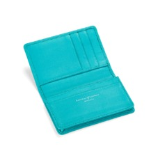 Marylebone Credit Card Holder in Smooth Aqua Nappa. Business & Credit Card Holders from Aspinal of London
