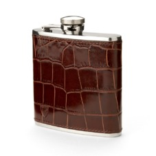 Classic 5oz Leather Hip Flask in Amazon Brown Croc. Classic 5oz Leather Hip Flasks from Aspinal of London