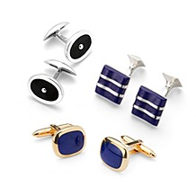 Sterling Silver, Gold & Enamel Cufflinks. Clothing Accessories from Aspinal of London