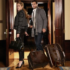 Portofino Rolling Cabin Bag in Black Calfskin & Black Haircalf. Mens Travel Bags from Aspinal of London