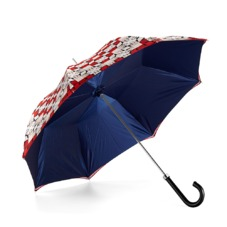 Ladies Marylebone Stand Up Umbrella in Berry Red & Navy Blue. Umbrellas from Aspinal of London