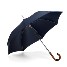Mens Stand Up Umbrella with Wooden Handle in Navy Blue. Umbrellas from Aspinal of London