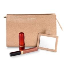 Medium Cosmetic Case in Deer Saffiano