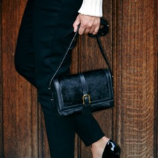 Mini Shoulder Buckle Bag in Black Nubuck. Handbags & Clutches from Aspinal of London