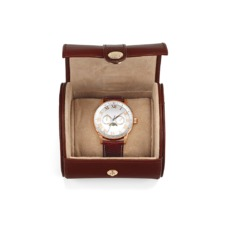 Travel Watch Roll in Smooth Cognac & Stone Suede