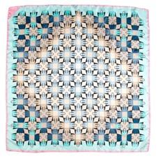 Marylebone Geometric Silk Scarf in Aqua. Ladies Silk Scarves from Aspinal of London