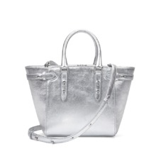 Marylebone Mini in Smooth Metallic Silver. Handbags & Clutches from Aspinal of London