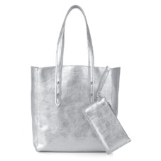 Essential Tote in Smooth Metallic Silver. Handbags & Clutches from Aspinal of London