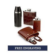 Engraved Leather Hip Flasks