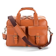 Harrison Overnight Business Bag in Smooth Tan. Mens Travel Bags from Aspinal of London