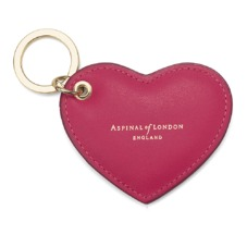 Heart Key Ring in Smooth Deep Fuchsia Pink. Outlet from Aspinal of London