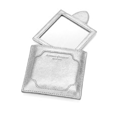 Marylebone Compact Mirror in Smooth Silver. Outlet from Aspinal of London