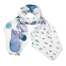 Large Raindrop Cashmere Blend Shawl Scarf in Aqua. Ladies Cashmere Scarves from Aspinal of London