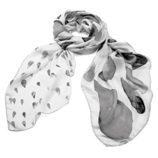 Large Raindrop Cashmere Blend Shawl Scarf in Monochrome. Ladies Silk Scarves from Aspinal of London