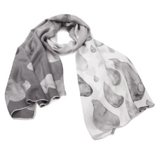 Long Raindrops & Clouds Cashmere Blend Shawl Scarf in Monochrome. Ladies Silk Scarves from Aspinal of London
