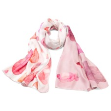 Long Raindrops & Clouds Cashmere Blend Shawl Scarf in Neon Pink. Ladies Cashmere Scarves from Aspinal of London