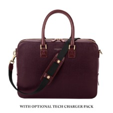 Small Mount Street Bag in Burgundy Red Saffiano. Ladies Business Bags from Aspinal of London