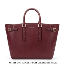 Marylebone Tote in Burgundy Python. Handbags & Clutches from Aspinal of London
