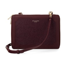 Marylebone iPad Air Case with Crossbody Strap in Burgundy Saffiano. Outlet from Aspinal of London