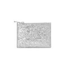 Small Essential Flat Pouch in Crinkled Metallic Silver. Outlet from Aspinal of London