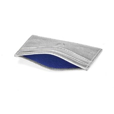 Slim Credit Card Case in Smooth Metallic Silver. Business & Credit Card Holders from Aspinal of London