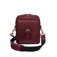 Small Harrison Messenger Bag in Smooth Burgundy. Mens Messenger Bags from Aspinal of London