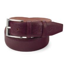Classic Men's Belt in Burgundy Saffiano