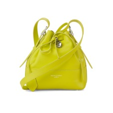 Padlock Bucket Bag in Smooth Chartreuse Yellow. Handbags & Clutches from Aspinal of London