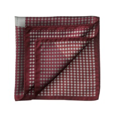 Savile Row Silk Twill Pocket Square in Burgundy & Silver