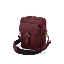 Small Harrison Messenger Bag in Smooth Burgundy. Messenger Bags from Aspinal of London