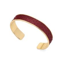 Cleopatra Skinny Cuff Bracelet in Burgundy Python. Cuff Bracelets from Aspinal of London