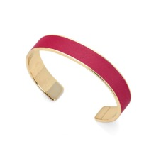 Cleopatra Skinny Cuff Bracelet in Smooth Deep Fuchsia. Cuff Bracelets from Aspinal of London