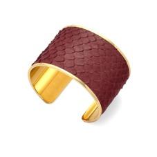 Cleopatra Cuff Bracelet in Burgundy Python. Cuff Bracelets from Aspinal of London